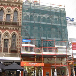 Public safety is foremost when restoring heritage facade in a busy Adelaide mall