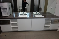 Restroom joinery in a sports club