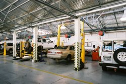 Internal view of the new workshop facility for CMI Toyota at Stepney