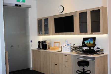 The new 2020 nurses' station and  recovery lounge amenities area in recovery suite