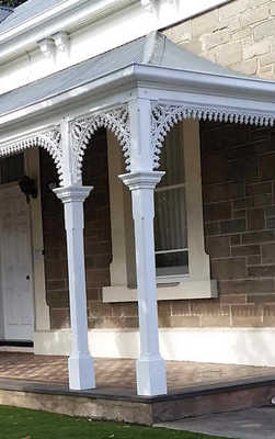 Restored verandah posts at Alfred James at Alberton