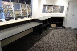 Display cabinets & counter work by Brimblecombe Joinery